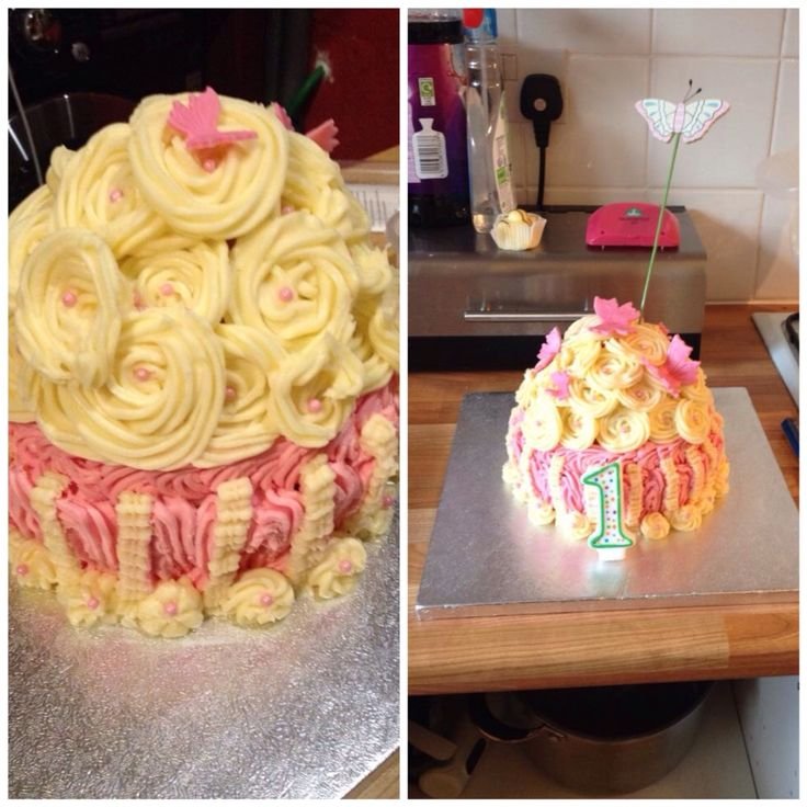 This is my granddaughters smash cake for her 1st birthday, made by me Elena Purton.  I didn't have the Giant Cupcake mould at this point and I had to carve the cakes into shape myself. Was a fun one to do and watching her was even better!