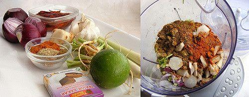 Ingrediënten om zelf Thaise rode curry pasta te maken