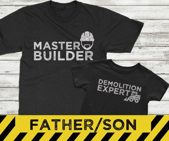 Juego camisas de padre hijo, maestro y experto en demolición, camisas de construcción para los niños, padre hijo emparejar conjuntos de camisa  Estos padre e hijo coordinaron camisas lo dicen todo. Daddy construye hijo lo golpea encima! Perfecto para el papá que le encanta crear y crear.  Disponible en blanco o negro.  INFORMACIÓN SOBRE PEDIDO: ------------------------------- -Seleccione el tamaño y el color de la camiseta adulto en el primer menú desplegable -Seleccione el tamaño de la…