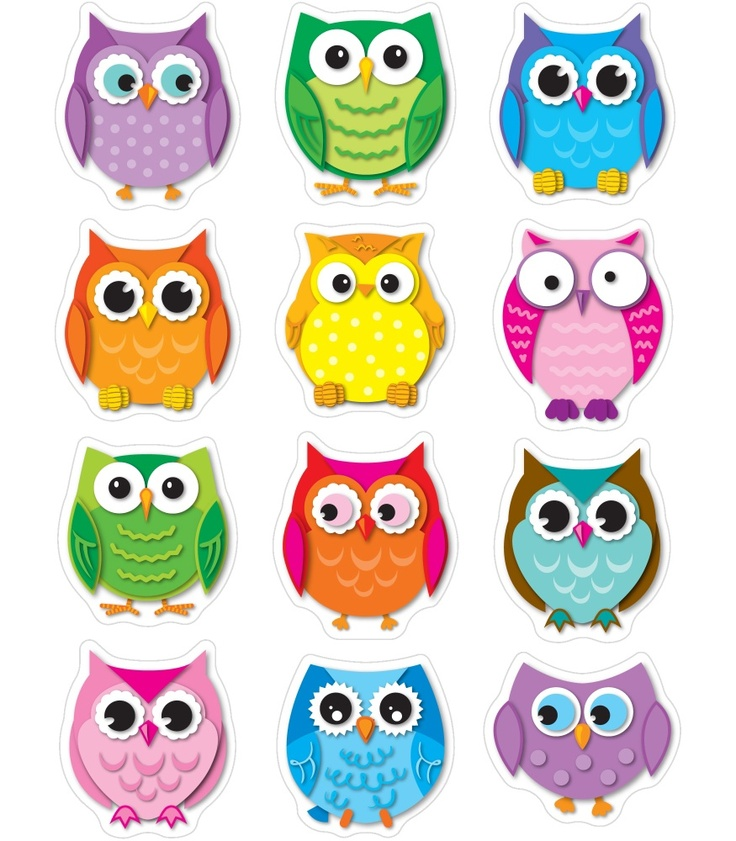 Colorful Owl Classroom Decorations ~ Colorful owls shape stickers classroom décor from carson