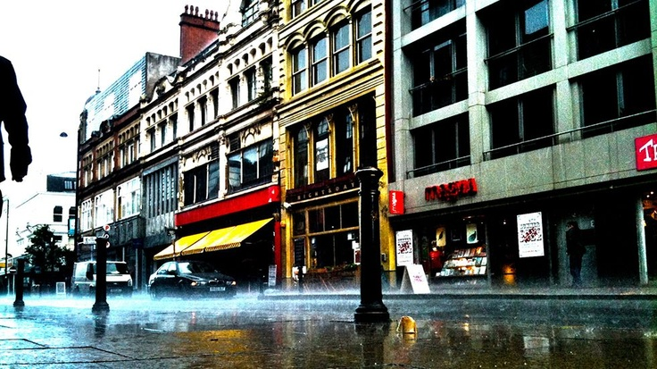 Oldham Street in the rain, Manchester.