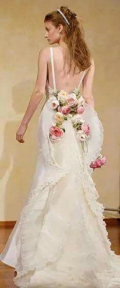 Wedding dress with flowers. So beautiful..