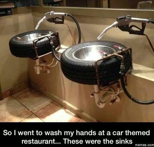 Bathroom Sinks at a car themed restaurant.  Pretty cool! #Tires