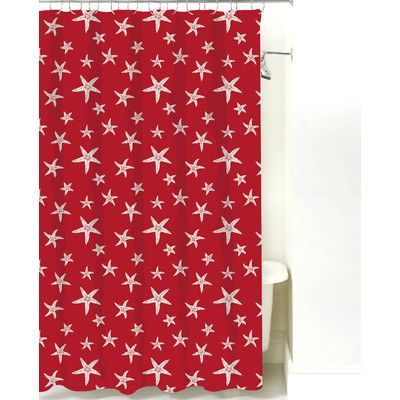 NECR Print Starfish Cotton Shower Curtain Color Red Sand
