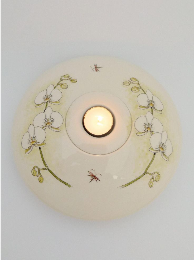 Hand painted cremation urn bowl with candle on top - White Orchid - Phoenix Urns