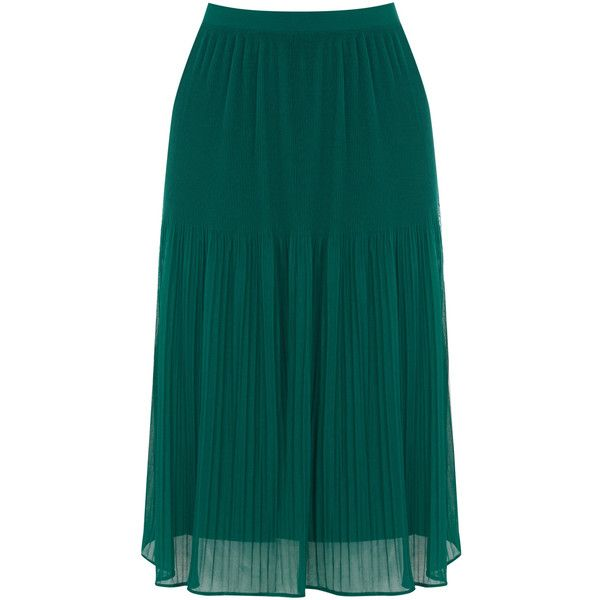 OASIS Sunray Pleat Skirt (230 EGP) ❤ liked on Polyvore featuring skirts, green, green pleated skirt, knee length skirts, oasis skirts, blue skirt and knee length pleated skirt