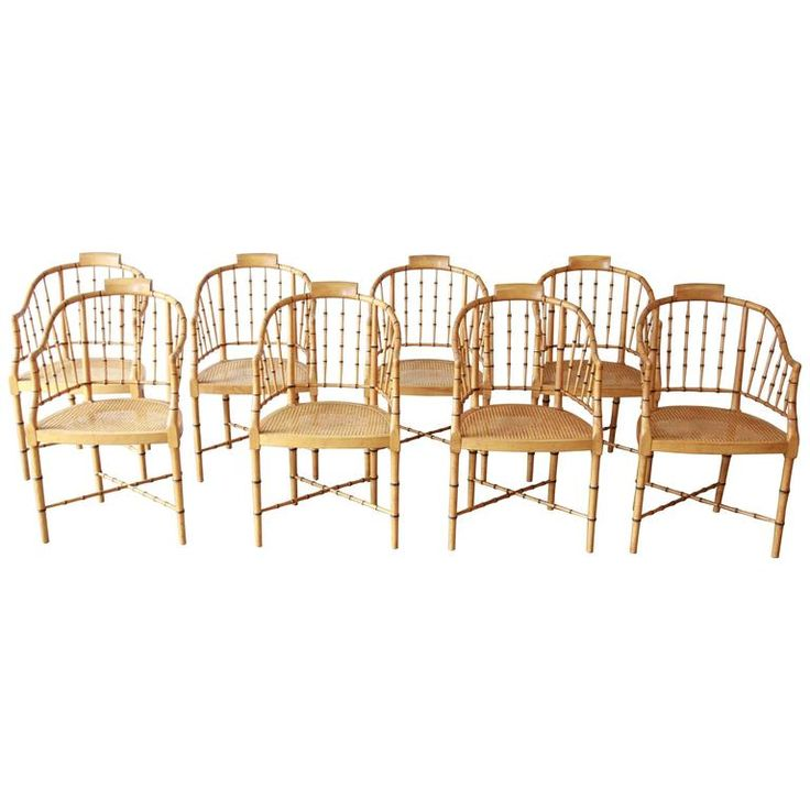 Set of Eight Regency Bamboo Chairs by Baker Furniture | From a unique collection of antique and modern dining room chairs at https://www.1stdibs.com/furniture/seating/dining-room-chairs/