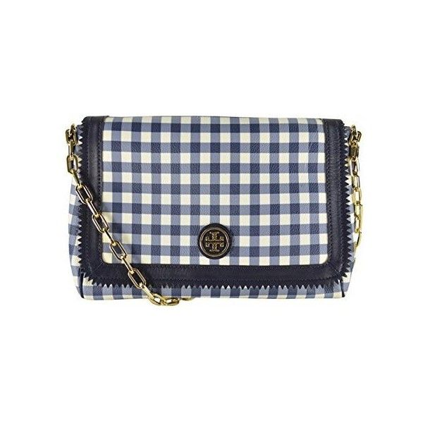 Tory Burch Kerrington Gingham Cross-Body Navy Gingham (€255) ❤ liked on Polyvore featuring bags, handbags, shoulder bags, tory navy, chain strap shoulder bag, tory burch handbags, over the shoulder purse, navy shoulder bag and tory burch purse