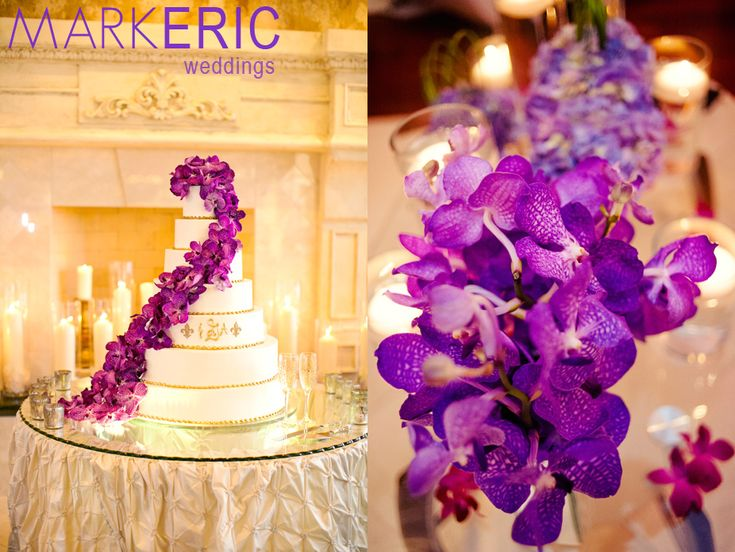 Purple And Gold Cake With Fresh Orchids