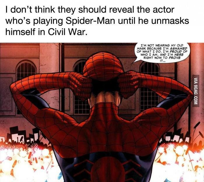 They shouldn't announce who's playing Spider-Man until he unmasks himself in Civil War - Huge pain in the ass for Marvel but this would be awesome