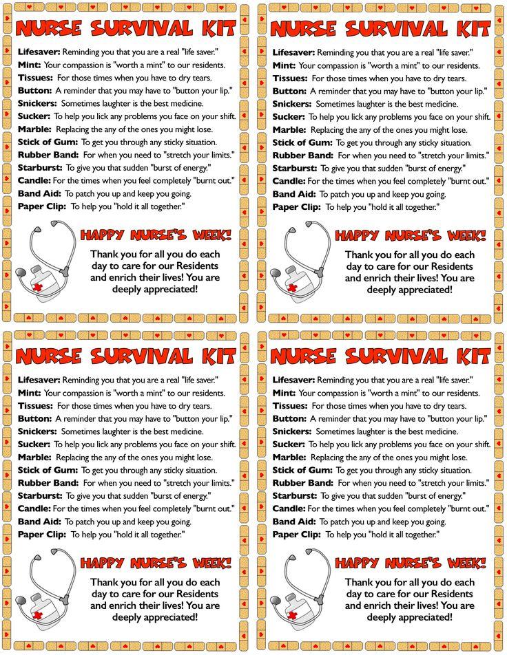 Nurse's Week gift ideas - a Nurse Survival Kit I whipped ...
