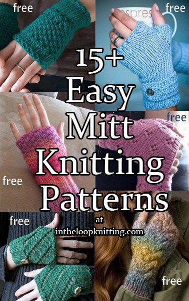 Knitting patterns for easy fingerless mitts and arm warmers. Most patterns are free.