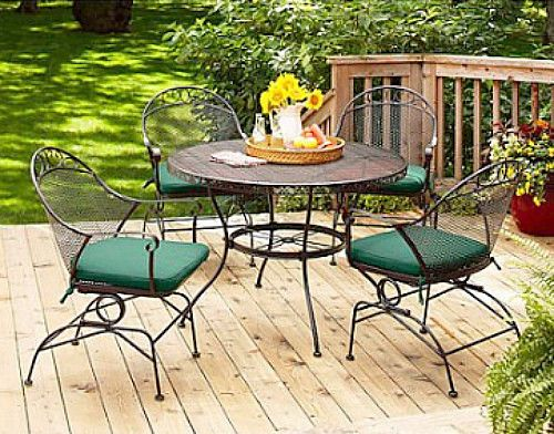 Outdoor 5 Piece Dining Set Garden Round Table & Chairs Deck Furniture Metal Mesh #BetterHomeGardenMarket
