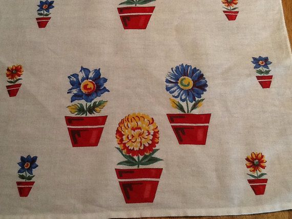 Vintage Tea Towel with Flower Pot Theme by ContemporaryVintage, $12.00
