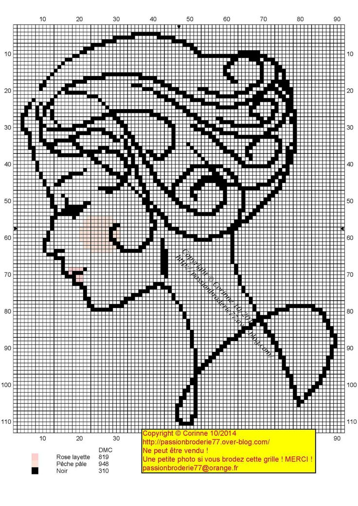 Lady silhouette x-stitch