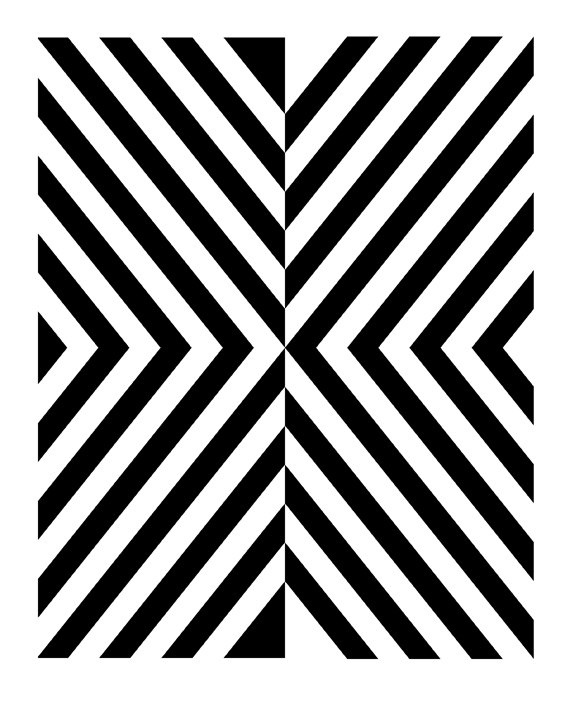 Black and white geometric art print 8x10 by retromenagerie 24 00