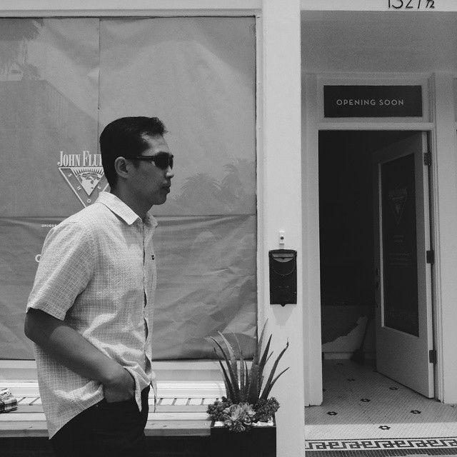 A man strolls past the (now open) John Fluevog Abbot Kinney store. @americanobscura for @streetvogs