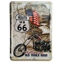 Plaque métal Route 66 national old trails road carte postale rétro vintage collection