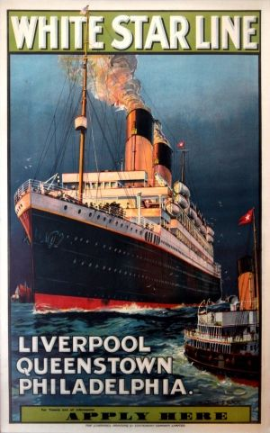 White Star Line Liverpool Queenstown Philadelphia, 1930s - original vintage cruise ship poster by Montague Birrell Black listed on AntikBar.co.uk