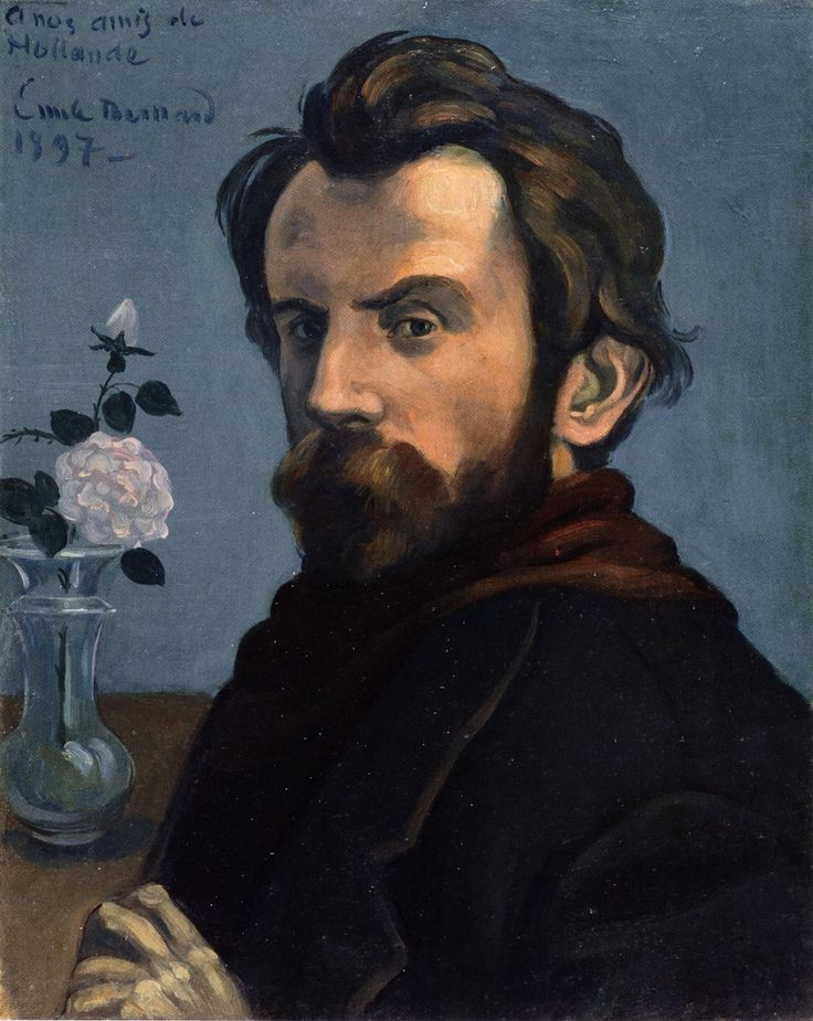 Émile Bernard (French, 1868-1941. Self-Portrait with a Vase of Flowers, 1897. Rijksmuseum, Amsterdam