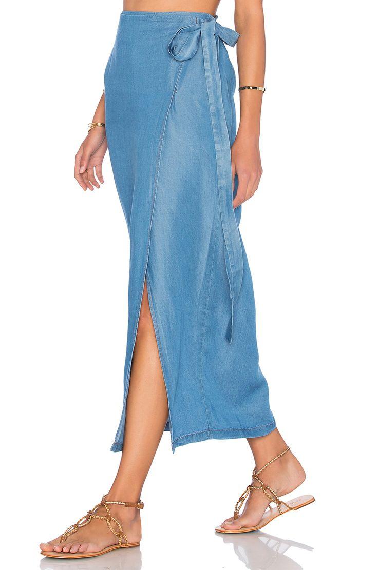 Capulet Wrap Maxi Skirt in Washed Denim