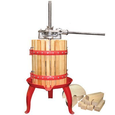 Features:  -Fruit and wine press.  -Double ratcheting head to press with greater pressure and ease.  -Easy pour bottom spout.  -Material: Heavy duty coated cast iron with enameled steel base and hardw