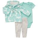 "Carter's Girls Micro Fleece 3 Piece Cardigan and Pant Set - Turquoise Dot (3 Months) - Carters  - Babies""R""Us"