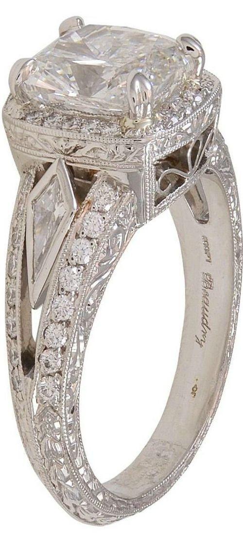 Vintage Michael Beaudry cushion cut diamond platinum ring