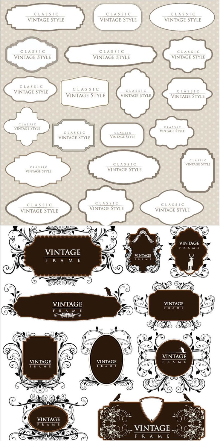 """2 Set with 30 vector classic vintage frames with decorative elements - flourish and swirls for your vintage designs. Format: EPS stock vector clip art and illustrations. Free for download. Set name: """"Classic vintage frames vector"""" for Adobe Illustrator. Theme…"""