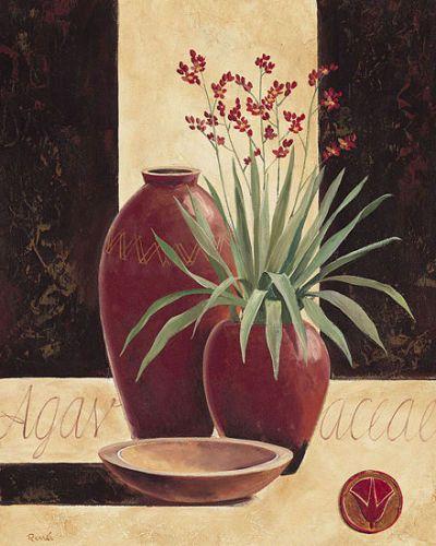 Renee-Agavaceae-in-red-vases-Stillleben-Fertig-Bild-40x50-Wandbild-Vasen