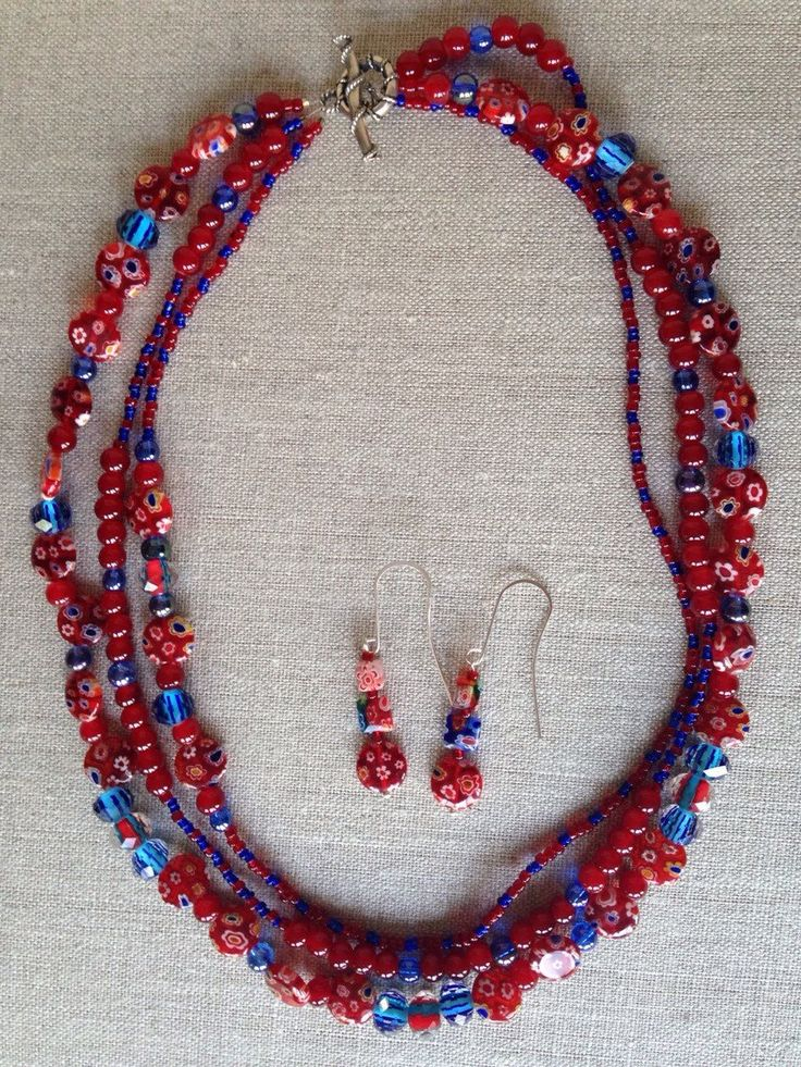 A personal favorite from my Etsy shop https://www.etsy.com/listing/235858116/red-blue-floral-millefiori-multi-strand