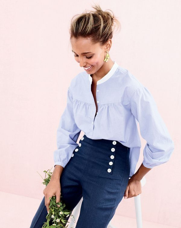 A crisp popover half tucked + linen sailor pants with a decorative lace-up back= a nautical-inspired look that works for day or night (and, um, land or sea).  J.Crew women's gathered popover in end-on-end cotton, sailor pant in heavy linen and lemon tree earrings.