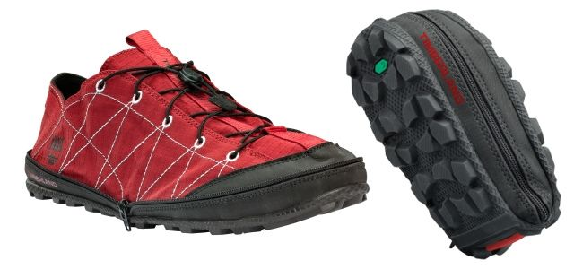 The Radler Trail Camp shoe by Timberland can folded in half and zipped up to enable compact packing.