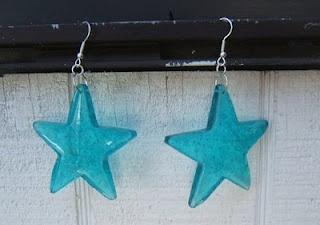 Melted Plastic bead Star Earrings
