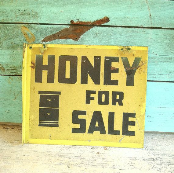 Vintage 1930s Metal HONEY FOR SALE Advertising Sign Yellow ...