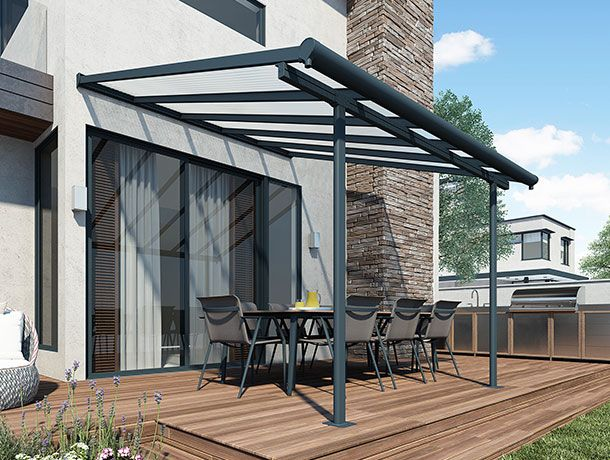 The Sierra Patio Cover enables you to luxuriate in your outdoor space year-round, a stylishly crafted sturdy addition to your outdoor living space.
