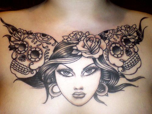 Chest Girl Tattoo: 45 Best Images About Chest Tattoos For Girls Drawing On