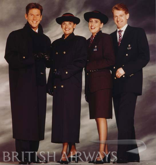 British Airways cabin crew 1992 - 2004. We were so excited about this uniform! Looks soooooooo dated now but it was worn for 12 years