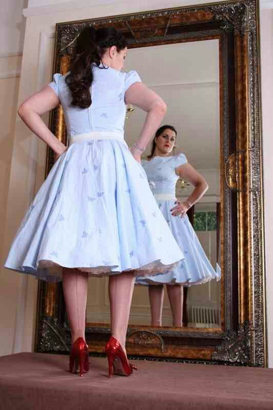 Back View Ghingham Dress And Petticoat Petticoats Polka