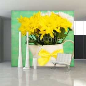 Fototapeta na ścianę - Piękne chryzantemy w dzbanie na drewnianym tle | Photograph wallpaper - BEAUTIFUL CHRYSANTHEMUM FLOWERS IN PITCHER ON WOODEN BACKGROUND| 152PLN #fototapeta #dekoracja_ściany #home_decor #interior_decor #photograph_wallpaper #wallpaper #flower #bouquet #bukiet_na_ścianie #wood #pitcher #yellow #chryzantemy #chryzanthemum