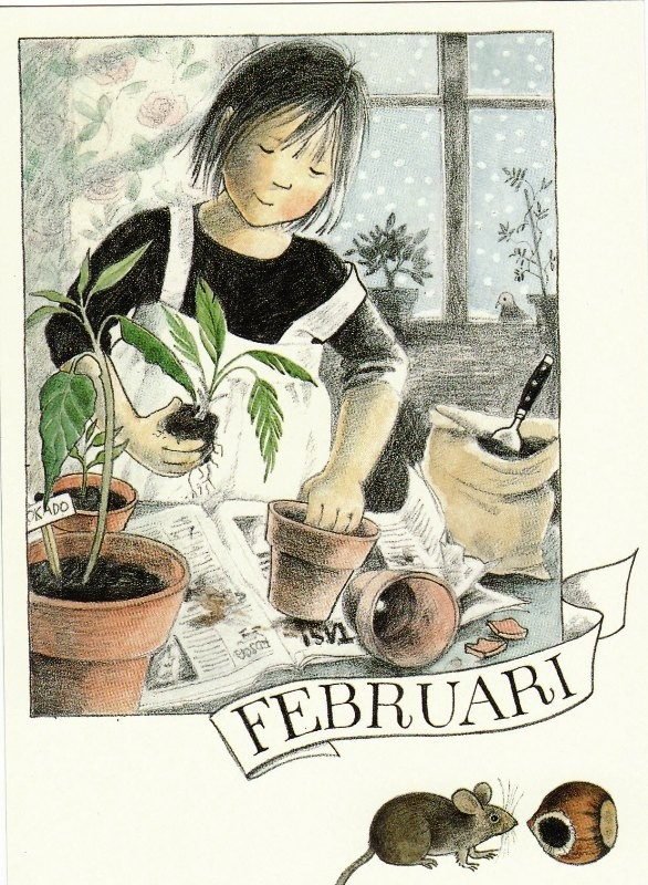 Février par Lena Anderson (1939) illustratrice suédoise. Son site : http://www.linneaimalarenstradgard.se/