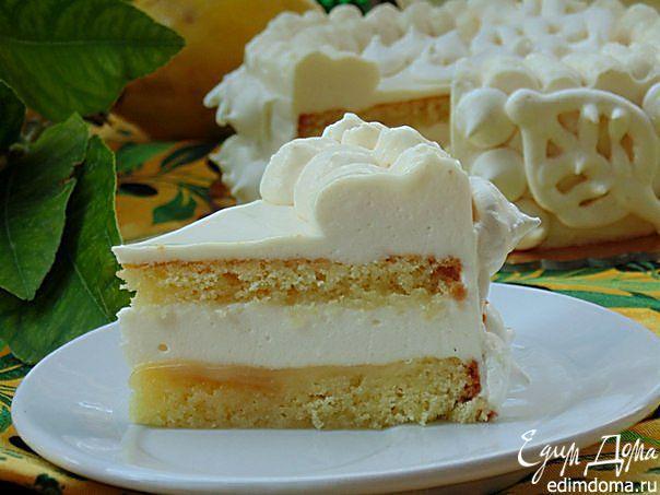 """Итальянский торт """"Лимонный восторг.""""Этот нежнейший торт с лимонным кремом перенесет вас на юг Италии и подарит настоящий восторг! #edimdoma #recipe #cookery #cake #dessert"""