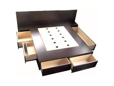 Cama con cajones base sommier para colchon opcional for Base de cama matrimonial con cajones