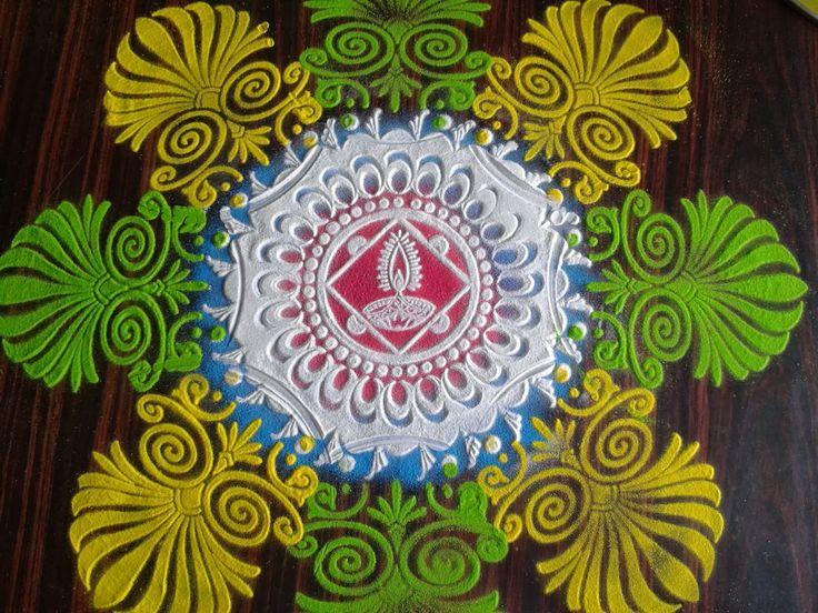 Diwali Rangoli , Kolam , Designs Images: Diwali rangoli using stencils - quick ,easy and beautiful