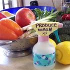 Produce Wash:         1 cup distilled white vinegar, 2 cups cold water.  Pour the vinegar and water into a spray bottle. Spray on vegetables, and let sit for 5 minutes. Rinse the vegetables under cold, running water using a scrub brush.