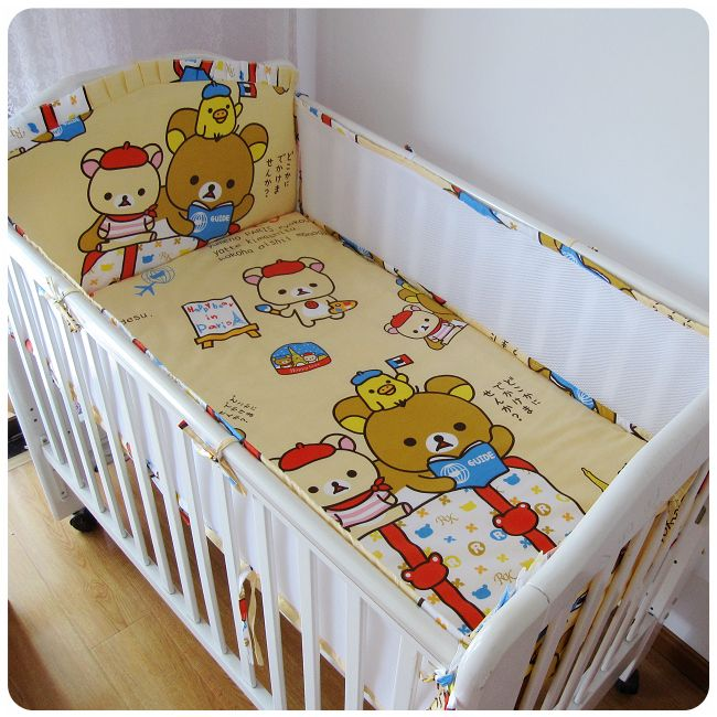 Promotion! 5PCS mesh mickey mouse Cot Baby Bedding Set Cotton Crib Kids Newborn Cot Bedding Baby Set,include:(4bumper+sheet)