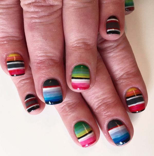 mexican blanket nails. Bel Fountain-Townsend. #nailart #serape