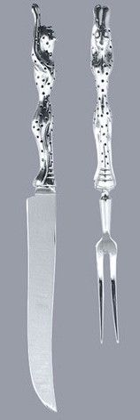 Pewter handcrafted. Diana Carmichael design.Carving  Set - Cheetah Africa…