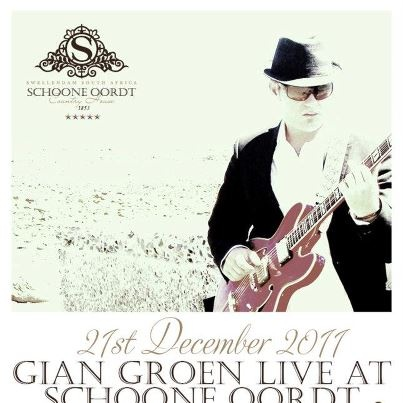We are very excited to announce that Gian Groen will be playing a live, intimate and unplugged session at Schoone Oordt on the 21st December this year!    Gian Groen is an Afrikaans singer(although he also sings in English), songwriter and founder of the rock group Spider. He is widely known as one of the country's top songwriters and performs a wide variety of music styles.