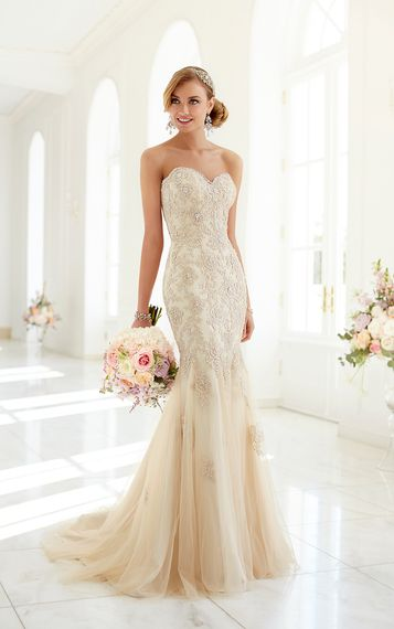 Champagne-colored wedding gown by Stella York